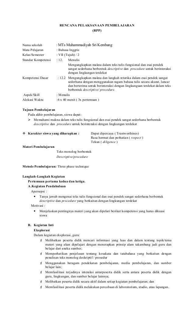 Rpp Descriptive Text Smp Kelas 8 Guru Ilmu Sosial