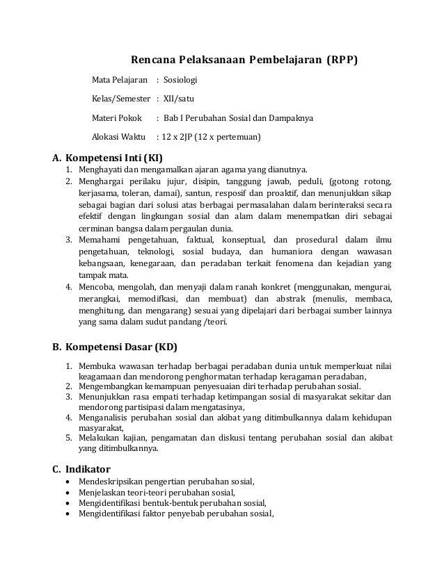 Rpp Sosiologi Xii Bab 1
