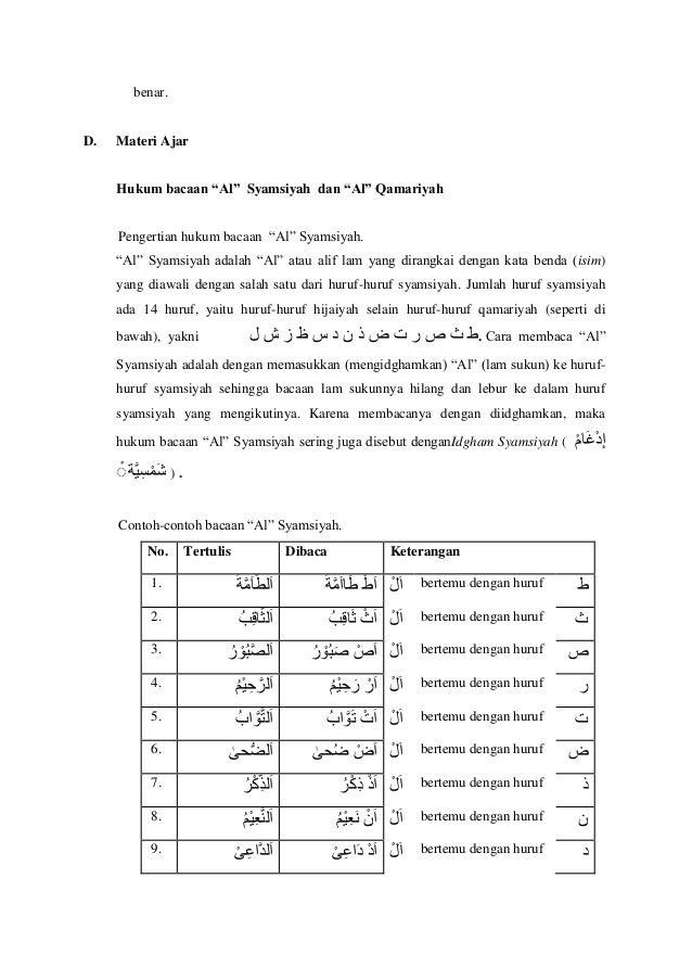 """benar. D. Materi Ajar Hukum bacaan """"Al"""" Syamsiyah dan """"Al"""" Qamariyah 1. Pengertian hukum bacaan """"Al"""" Syamsiyah. """"Al"""" Syams..."""