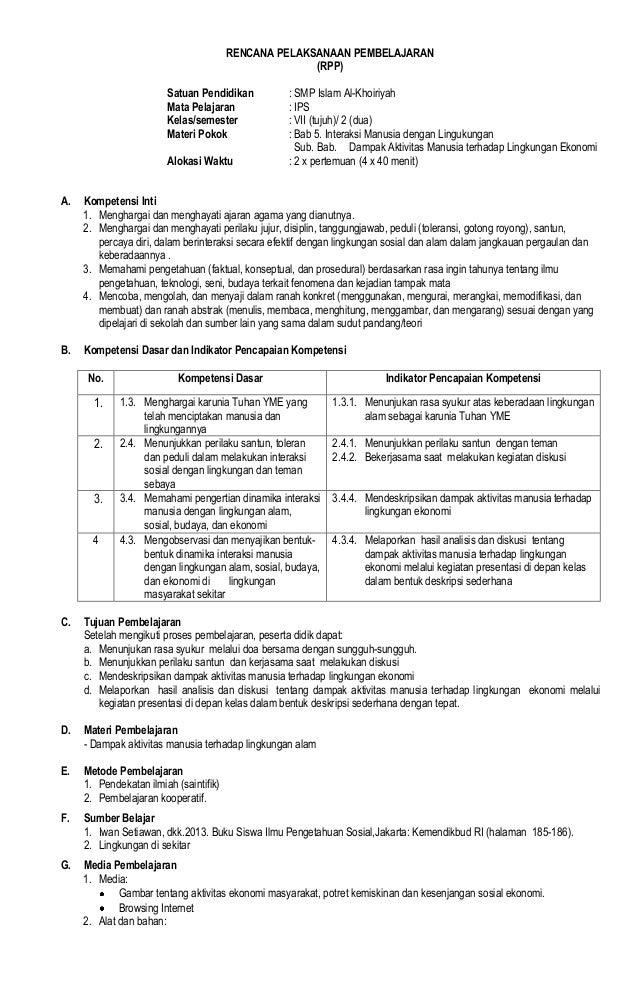 RENCANA PELAKSANAAN PEMBELAJARAN (RPP) Satuan Pendidikan : SMP Islam Al-Khoiriyah Mata Pelajaran : IPS Kelas/semester : VI...