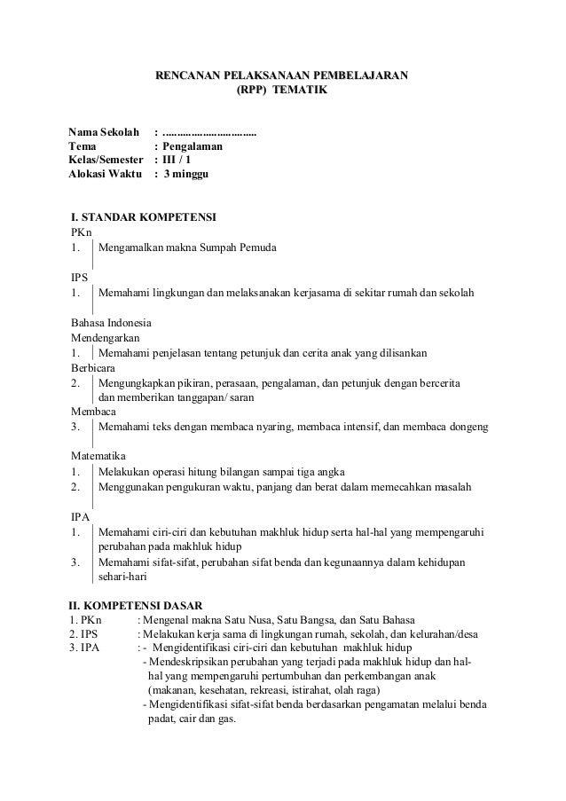Rpp Tematik Kelas 3 Sd Semester 1