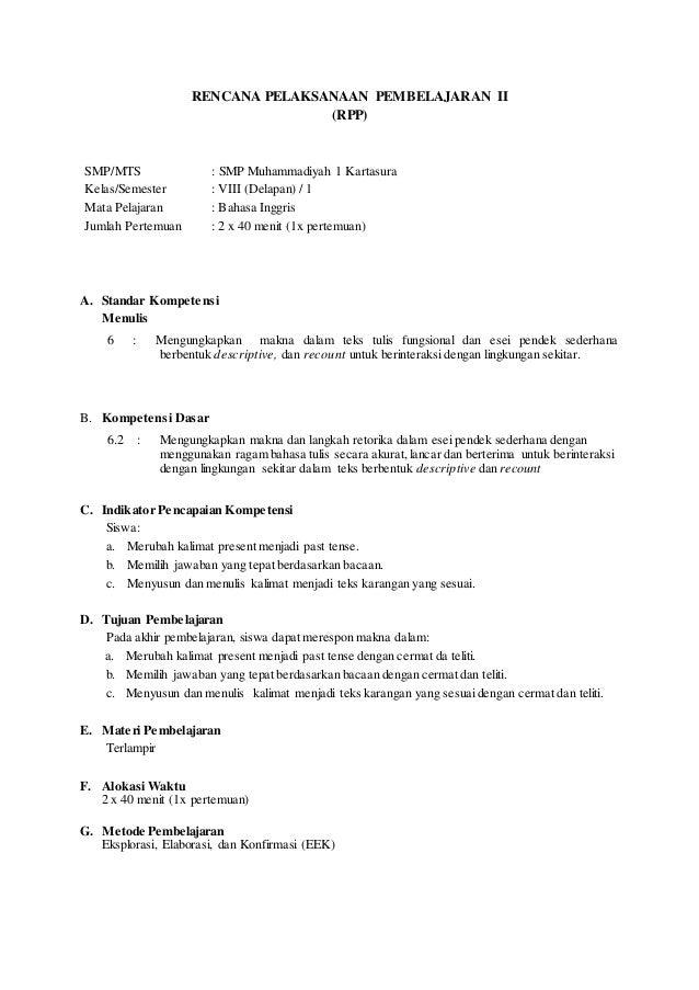 RENCANA PELAKSANAAN PEMBELAJARAN II (RPP) SMP/MTS : SMP Muhammadiyah 1 Kartasura Kelas/Semester : VIII (Delapan) / 1 Mata ...