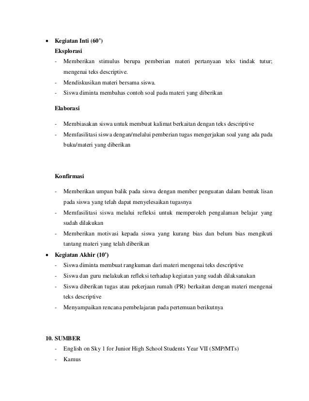 Rpp Descriptive Kelas Viii
