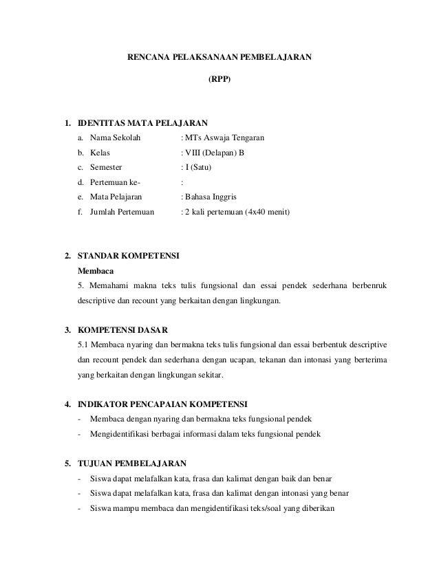 RENCANA PELAKSANAAN PEMBELAJARAN (RPP) 1. IDENTITAS MATA PELAJARAN a. Nama Sekolah : MTs Aswaja Tengaran b. Kelas : VIII (...