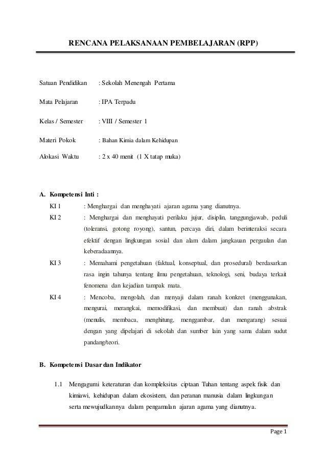 Page 1  RENCANA PELAKSANAAN PEMBELAJARAN (RPP)  Satuan Pendidikan : Sekolah Menengah Pertama  Mata Pelajaran : IPA Terpadu...