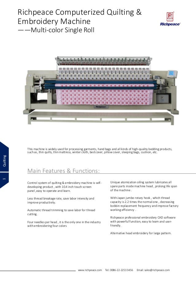 Rpcq E 424 Richpeace Quilting Embroidery Machine