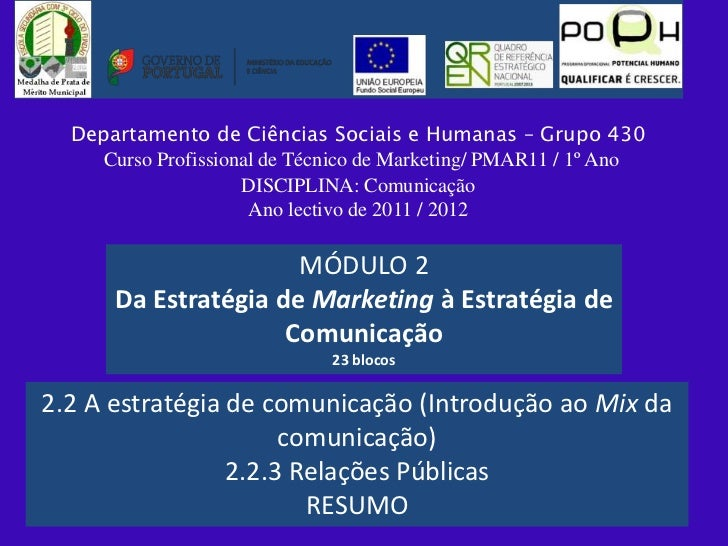 Departamento de Ciências Sociais e Humanas – Grupo 430     Curso Profissional de Técnico de Marketing/ PMAR11 / 1º Ano    ...