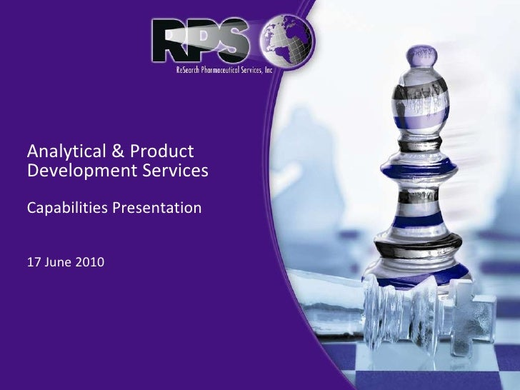 Analytical & Product Development Services  Capabilities Presentation 17 June 2010