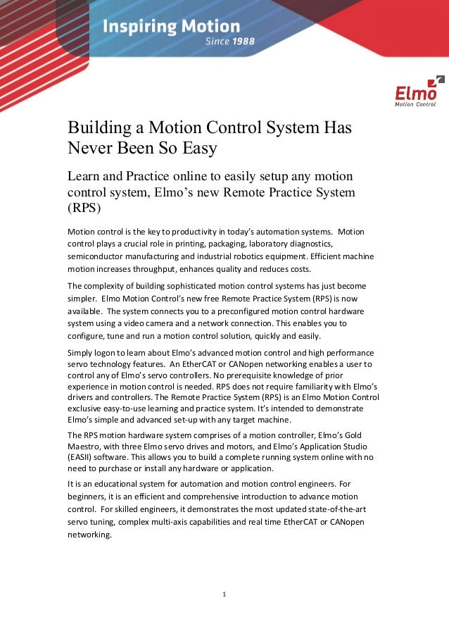 1 Building a Motion Control System Has Never Been So Easy Learn and Practice online to easily setup any motion control sys...