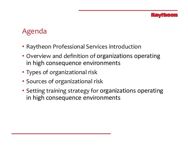 Tomorrow's Risk Today: Strategies for High Consequence Training Slide 3