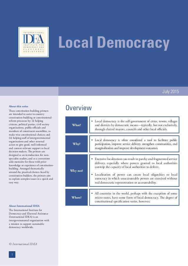 Local Democracy July 2015 About this series These constitution-building primers are intended to assist in-country constitu...