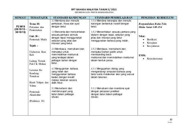 RPT BAHASA MALAYSIA TAHUN 5/ 2015 DISEDIAKAN OLEH: PANITIA BAHASA MALAYSIA 30 chuavk MINGGU TEMA/TAJUK STANDARD KANDUNGAN ...