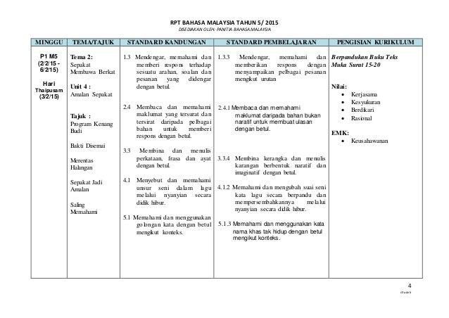 RPT BAHASA MALAYSIA TAHUN 5/ 2015 DISEDIAKAN OLEH: PANITIA BAHASA MALAYSIA 4 chuavk MINGGU TEMA/TAJUK STANDARD KANDUNGAN S...