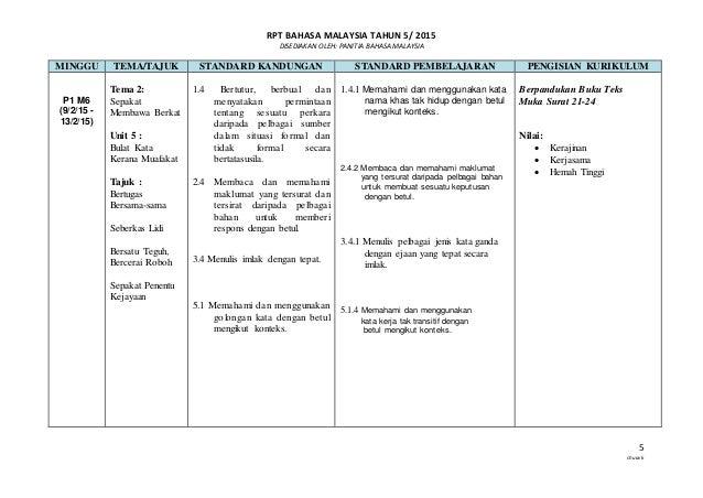 RPT BAHASA MALAYSIA TAHUN 5/ 2015 DISEDIAKAN OLEH: PANITIA BAHASA MALAYSIA 5 chuavk MINGGU TEMA/TAJUK STANDARD KANDUNGAN S...