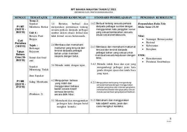 RPT BAHASA MALAYSIA TAHUN 5/ 2015 DISEDIAKAN OLEH: PANITIA BAHASA MALAYSIA 6 chuavk MINGGU TEMA/TAJUK STANDARD KANDUNGAN S...