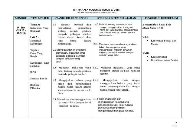 RPT BAHASA MALAYSIA TAHUN 5/ 2015 DISEDIAKAN OLEH: PANITIA BAHASA MALAYSIA 7 chuavk MINGGU TEMA/TAJUK STANDARD KANDUNGAN S...