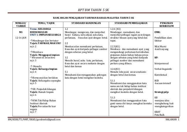 RPT BM TAHUN 5 SK BM/KSSR/T5/NMT/SKAD/gurubm6z@gmail.com HALAMAN 1 RANCANGAN PENGAJARAN TAHUNAN BAHASA MALAYSIA TAHUN 5 SK...