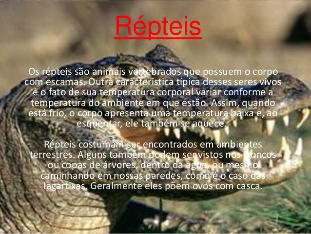 Répteis Os répteis são animais vertebrados que possuem o corpo com escamas. Outra característica típica desses seres vivos...