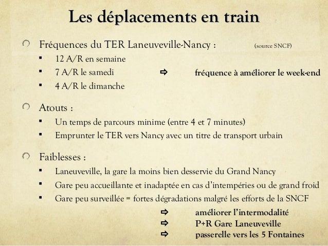 Les déplacements en train Fréquences du TER Laneuveville-Nancy :     12 A/R en semaine 7 A/R le samedi 4 A/R le dimanch...