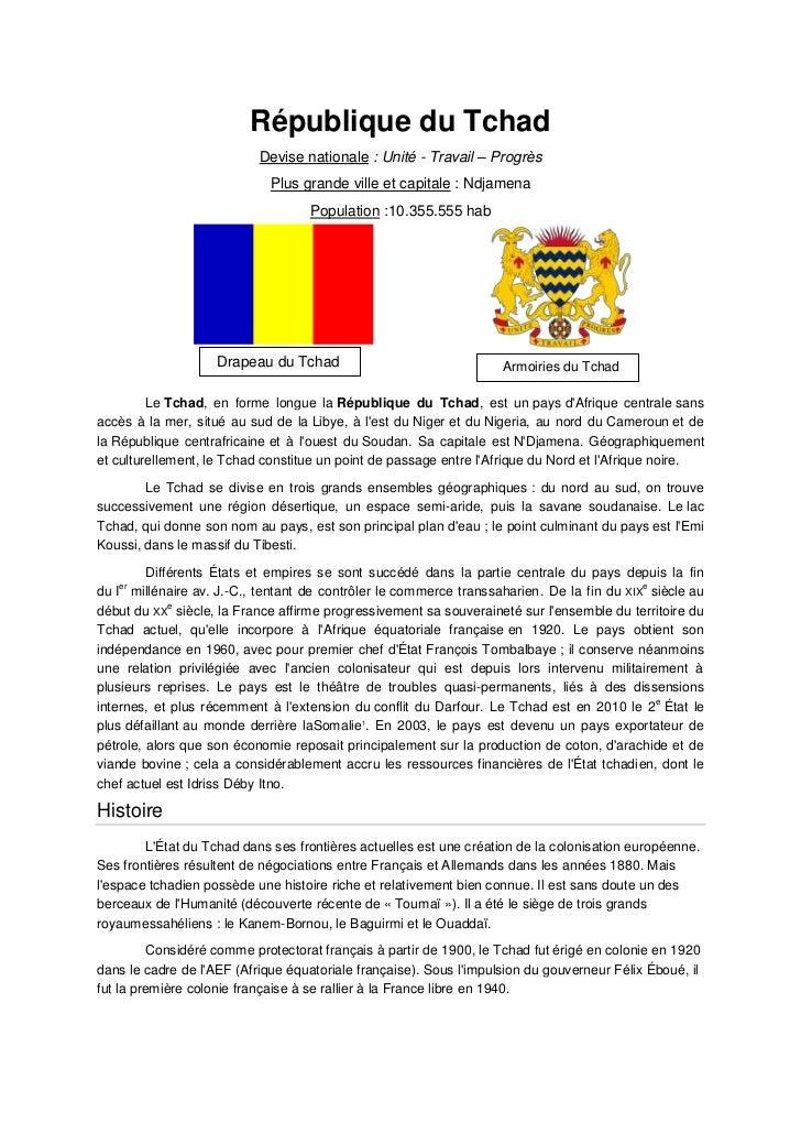 République du Tchad                           Devise nationale : Unité - Travail – Progrès                             Plu...