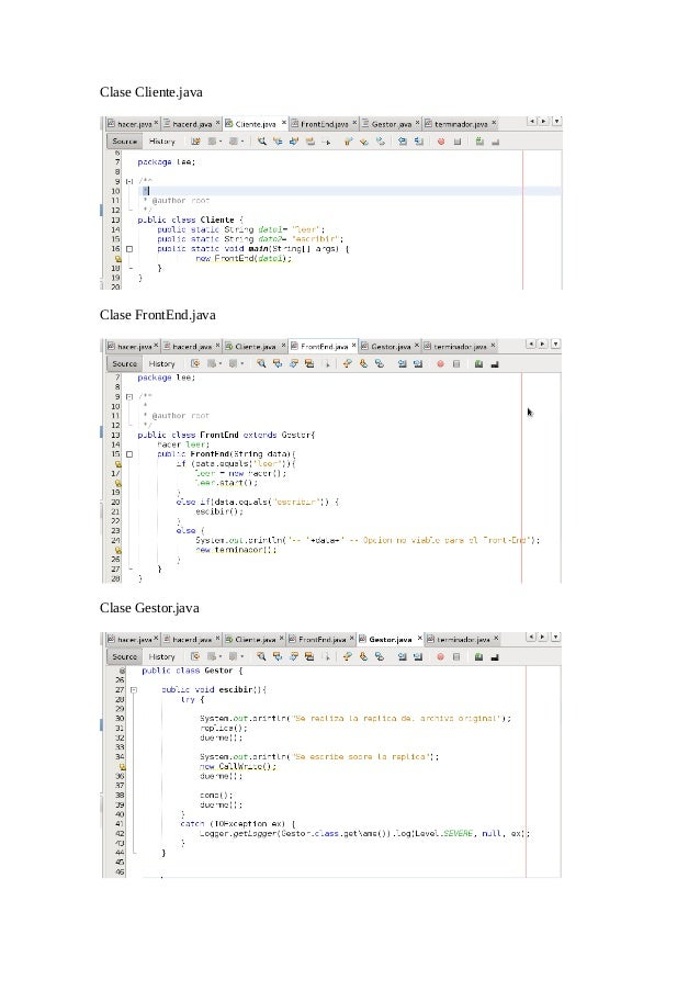 Clase Cliente.java  Clase FrontEnd.java  Clase Gestor.java