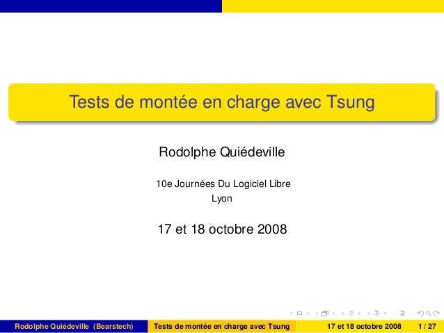 Tests de montée en charge avec Tsung Rodolphe Quiédeville 10e Journées Du Logiciel Libre Lyon 17 et 18 octobre 2008 Rodolp...