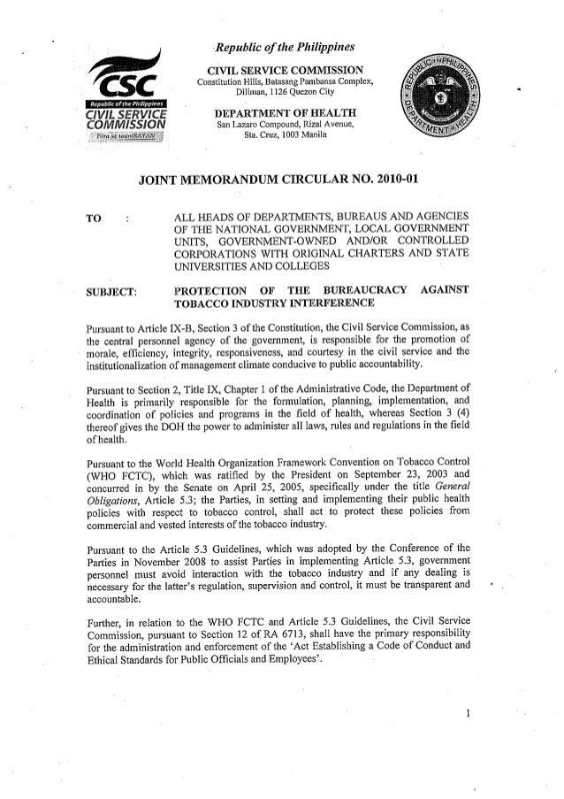 Joint Memorandum Circular No. 2010-01 (DOH and CSC)