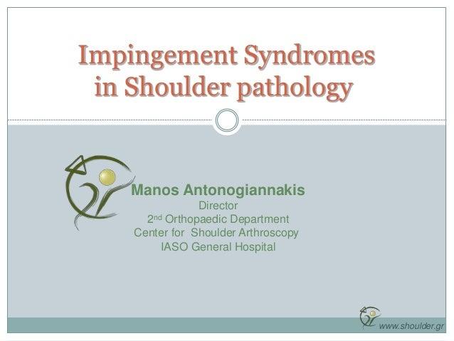 Impingement Syndromes in Shoulder pathology Manos Antonogiannakis Director 2nd Orthopaedic Department Center for Shoulder ...