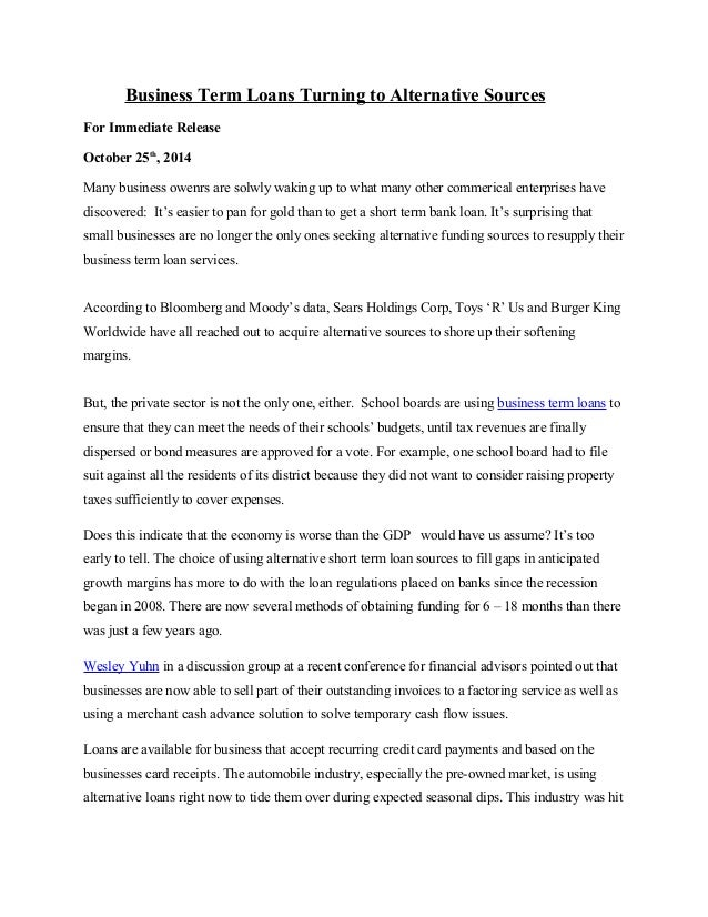 press release 1 business term loans turning to alternative sources 1 638