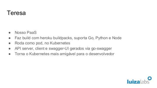 Teresa ● Nosso PaaS ● Faz build com heroku buildpacks, suporta Go, Python e Node ● Roda como pod, no Kubernetes ● API serv...