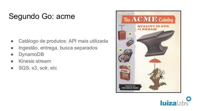 Segundo Go: acme ● Catálogo de produtos: API mais utilizada ● Ingestão, entrega, busca separados ● DynamoDB ● Kinesis stre...