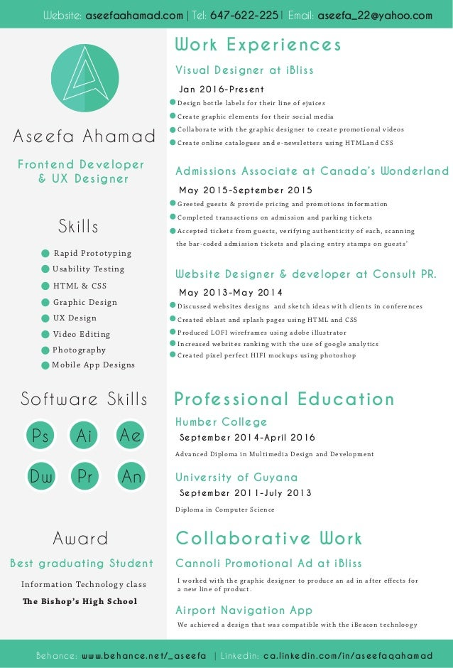 Skills Software Skills Award Best Graduating Student The Bishopu0027s High  School Frontend Developer U0026 UX Designer  User Experience Designer Resume