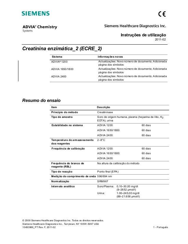 Instruções de utilização 2011-02 © 2008 Siemens Healthcare Diagnostics Inc. Todos os direitos reservados. Siemens Healthca...