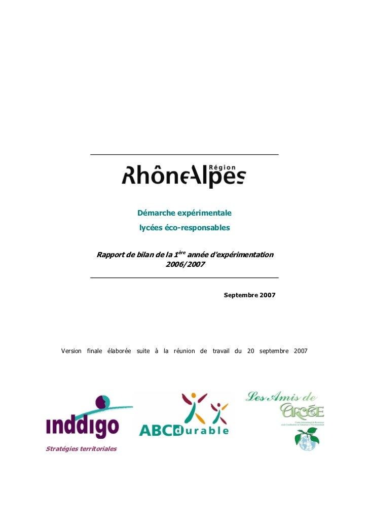 Démarche expérimentale                             lycées éco-responsables                 Rapport de bilan de la 1ère ann...