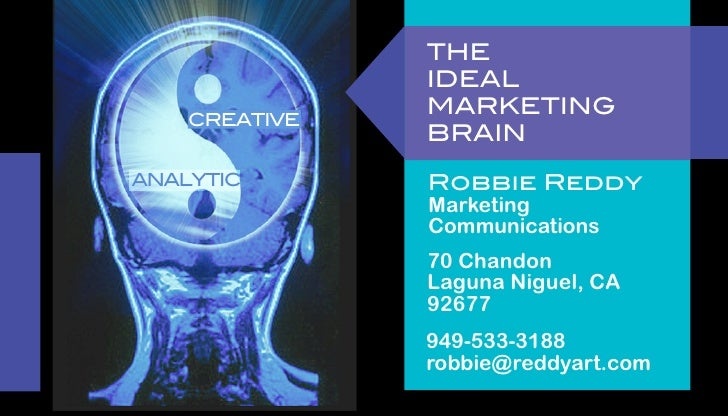 THE               IDEAL               MARKETING    CREATIVE               BRAINANALYTIC       Robbie Reddy               M...