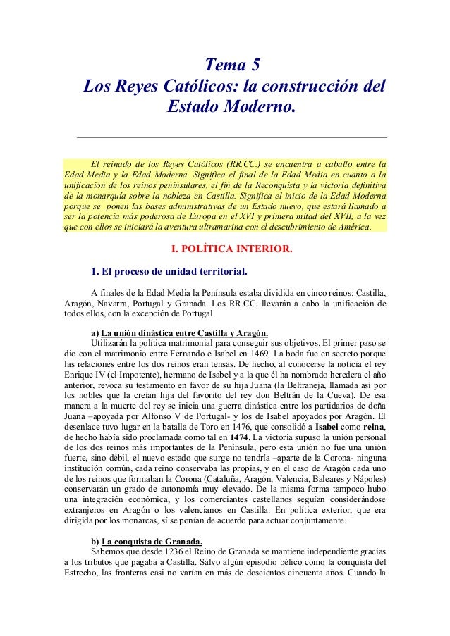 Tema 5 Los Reyes Católicos: la construcción del Estado Moderno. El reinado de los Reyes Católicos (RR.CC.) se encuentra a ...