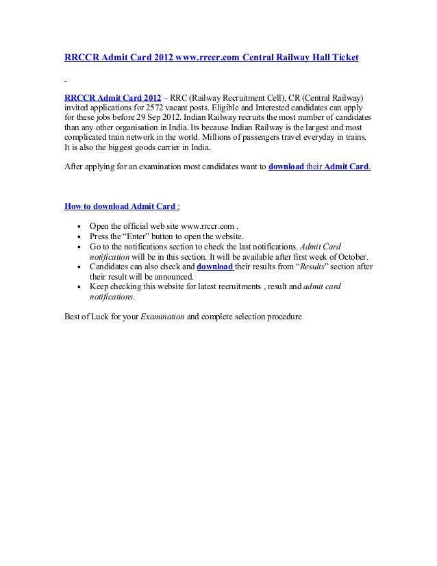 RRCCR Admit Card 2012 www.rrccr.com Central Railway Hall TicketRRCCR Admit Card 2012 – RRC (Railway Recruitment Cell), CR ...
