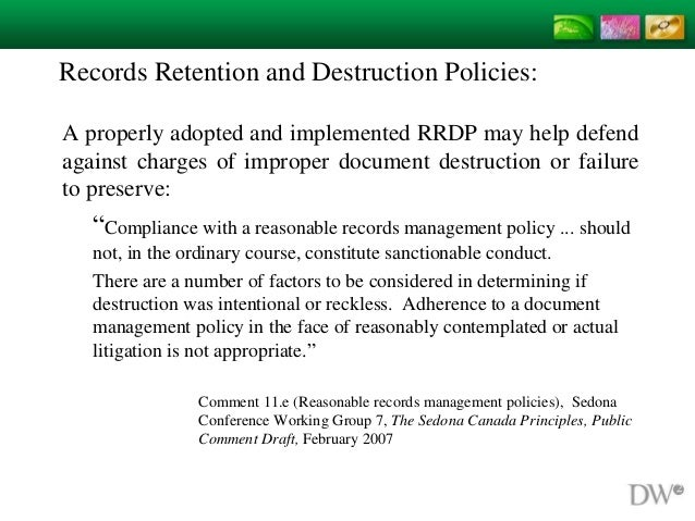 Records Retention And Destruction Policies