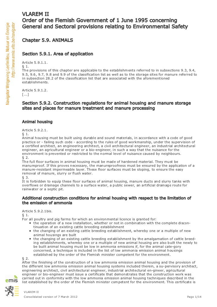 VLAREM IIOrder of the Flemish Government of 1 June 1995 concerningGeneral and Sectoral provisions relating to Environmenta...