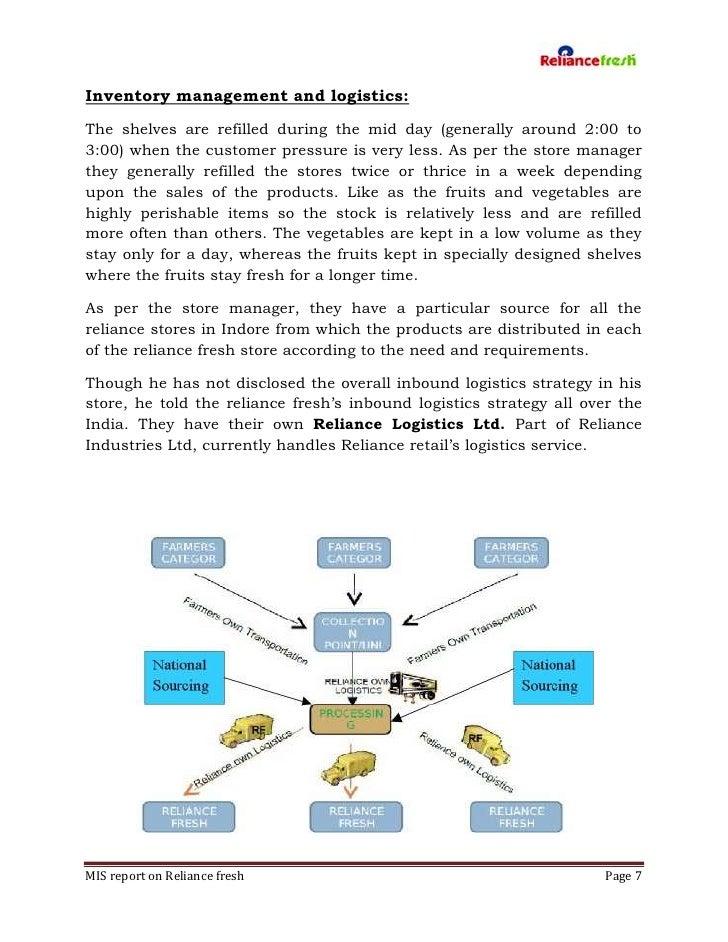 reliance fresh pdf