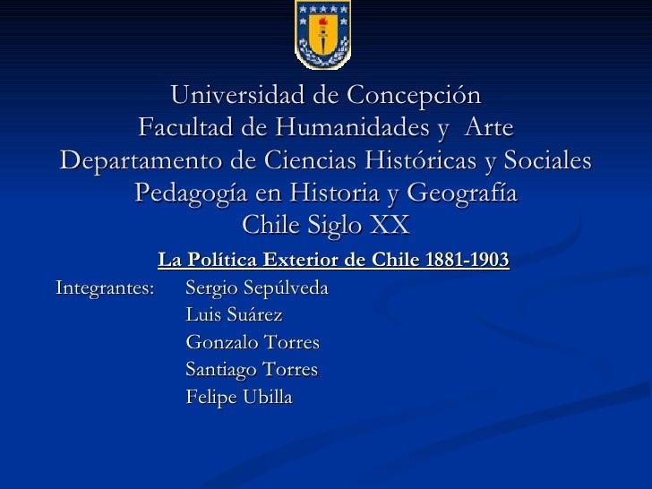 Universidad de Concepción Facultad de Humanidades y  Arte Departamento de Ciencias Históricas y Sociales Pedagogía en Hist...