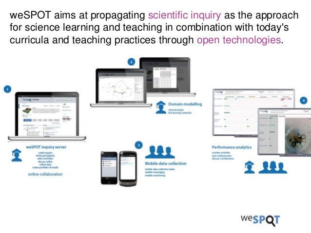 weSPOT aims at propagating scientific inquiry as the approach for science learning and teaching in combination with today'...