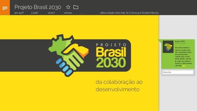 Projeto Brasil 2030 da colaboração ao desenvolvimento Brasil_2030 20:19 12 de nov Este documento e todas as ações que ele ...