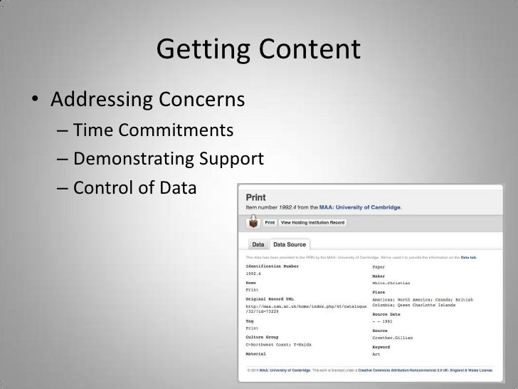 Getting Content<br />Addressing Concerns<br />Time Commitments<br />Demonstrating Support<br />Control of Data<br />