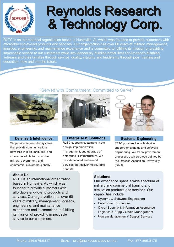 Reynolds Research                                & Technology Corp.R2TC is an international organization based in Huntsvil...