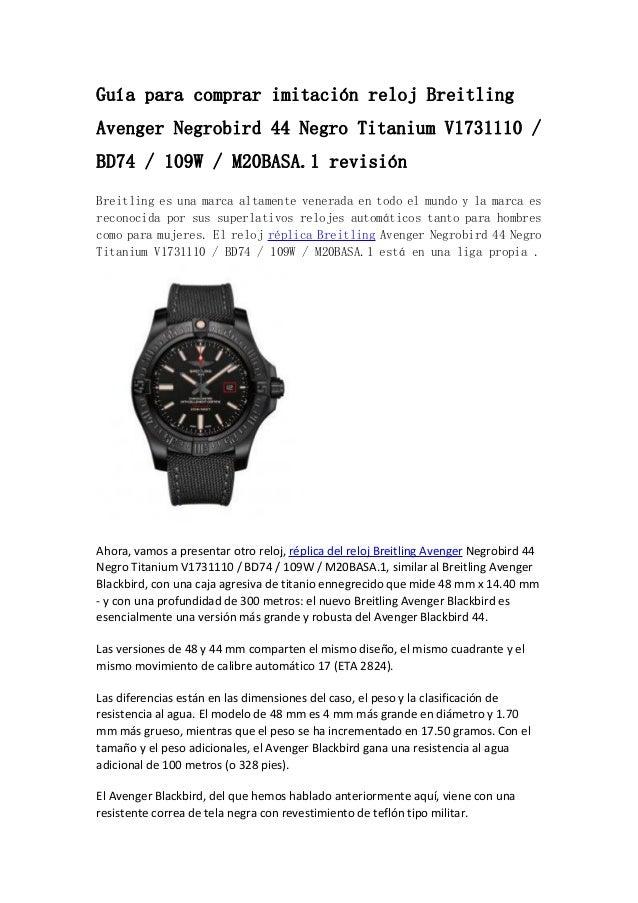 0fd0af9c1 Gu a para comprar imitaci n reloj Breitling Avenger Negrobird 44 Negro  Titanium V1731110 ...