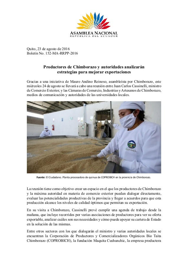 Quito, 23 de agosto de 2016 Boletín No. 152-MA-RRPP-2016 Productores de Chimborazo y autoridades analizarán estrategias pa...
