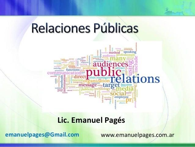 Lic. Emanuel Pagés www.emanuelpages.com.aremanuelpages@Gmail.com