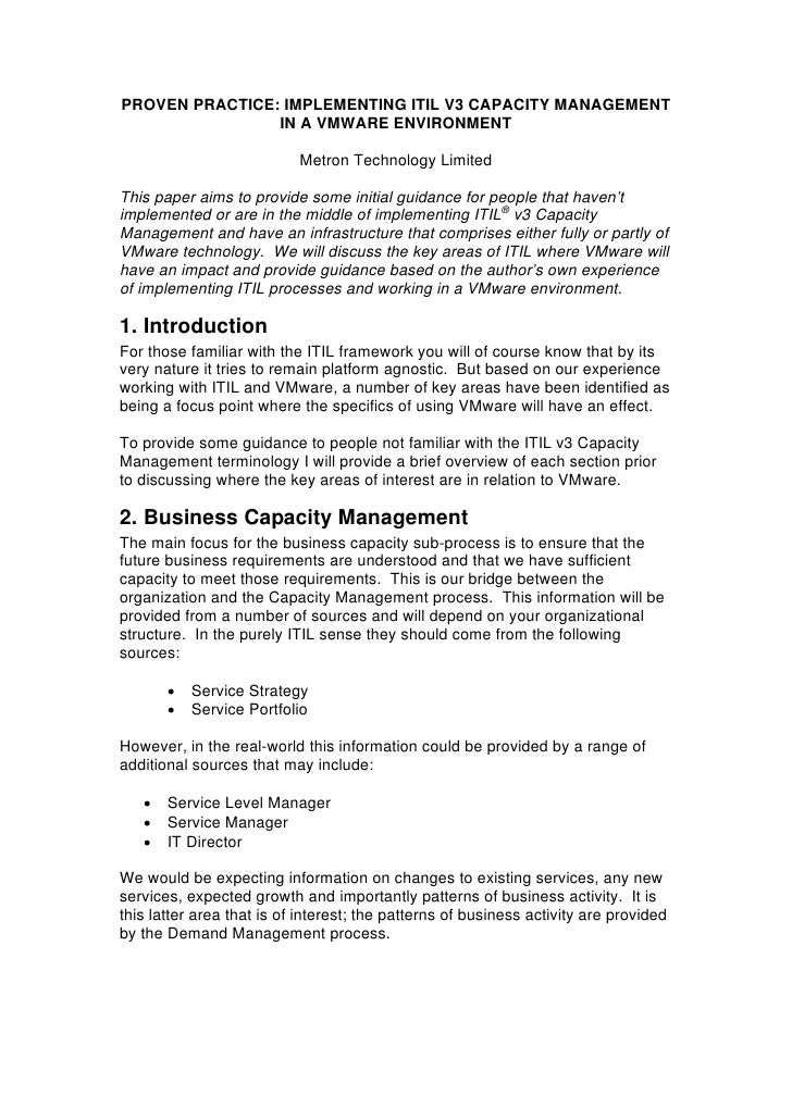 PROVEN PRACTICE: IMPLEMENTING ITIL V3 CAPACITY MANAGEMENT                IN A VMWARE ENVIRONMENT                          ...