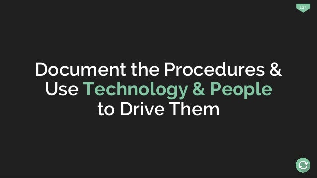 123 Document the Procedures & Use Technology & People to Drive Them